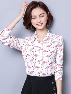 Women White Blouses Long Sleeve Animal Print Turndown Collar Spring Top