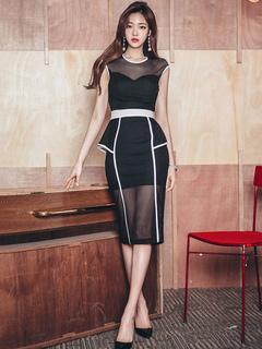 Black Bodycon Dress Women Dress Round Neck Sleeveless Peplum Slim Fit Sheath Dress