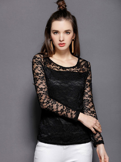 Women Black Blouses Lace Long Sleeve Round Neck Illusion Sexy Top