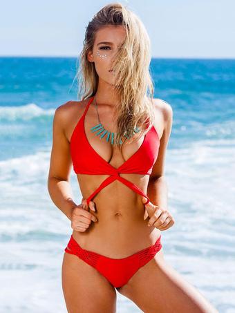Bikini sexy rosso affascinante con collo arrotondato smanicato vita bassa  con nodi monocolore di poliestere