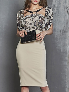 Summer Bodycon Dress Short Sleeve Floral Print Split Embellished Collar Midi Dress