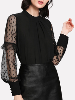 Women Black Blouses Crewneck Bishop Long Sleeve Polka Dot Chiffon Top
