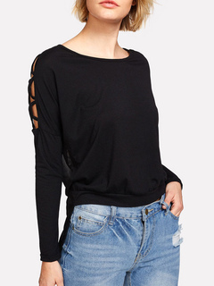 Women Black Blouses Long Sleeve Strappy High Low Chiffon Top