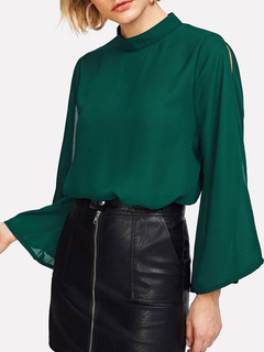 Women Chiffon Blouses Flared Long Sleeve Split Dark Green Spring Top
