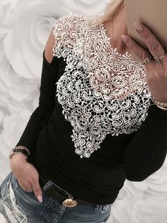 Women Black T Shrit Long Sleeve Lace Two Tone Cold Shoulder Cotton Top