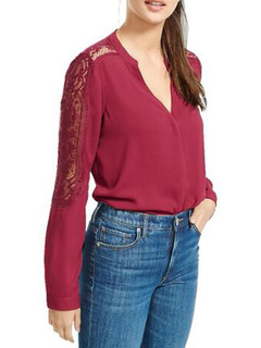 Women Chiffon Blouses V Neck Long Sleeve Lace Burgundy Spring Top