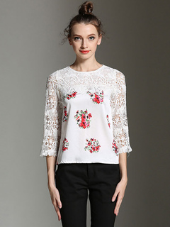 Women White Blouses Lace Floral Print Round Neck Split Chiffon Top