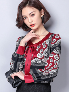Women Floral Blouses Long Sleeve V Neck Bows Burgundy Top