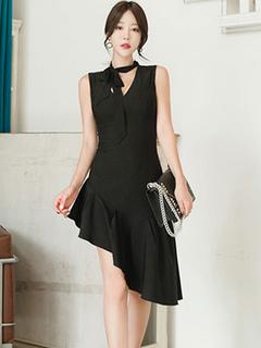Black Bodycon Dress V Neck Ruffles Sleeveless Sexy Summer Dress