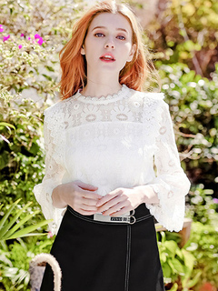 Women White Blouses Lace Flared Sleeve Spring Top