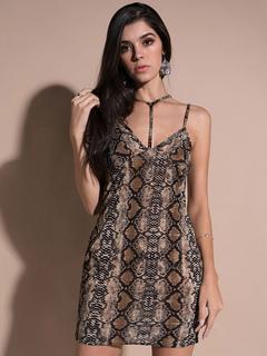 Sexy Bodycon Dress Snake Print Strappy Sleeveless Brown Summer Mini Dress