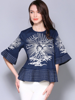Women Cotton Blouses Flared Sleeve Rund Neck Printed Dark Navy Casual Top