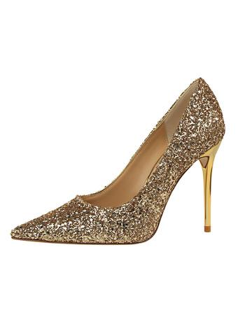 Zapatos de puntera puntiaguada de tacón de stiletto de tela brillante elegantes Fiesta de bodas jzthk