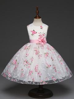 4c7af97e97ce7 robe cortège enfant à bas prix de fête princesse col rond avec dentelle  sans manches et