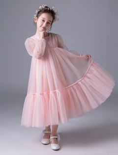 13d552625b0 Pink Flower Girl Dresses Boho Long Sleeve Empire Waist Princess Dress Kids  Tea Length Party Dresses