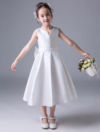 3deef1a03a3f5b Flower Girl Dresses Satin Ivory A Line Bows Sash Pleated Kids Tea Length Party  Dresses