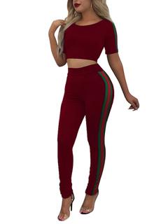 2a913dcd03 Ensemble deux pièces à manches longues à rayures à manches courtes pour  femmes avec pantalon skinny