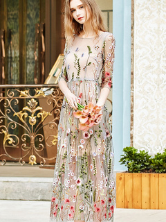 a3ade44ac2cf0 Floral Maxi Dress Embroidered Tulle Round Neck Long Dress