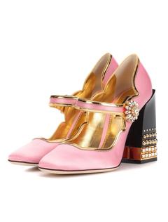 fc4b3587a6 Sandálias de salto alto Plus Size cetim apontou toe strass salto robusto  Mary Jane sapatos