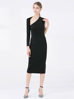 f7b6c6b4f457 Vestido preto bodycon um ombro manga comprida vestido assimétrico midi