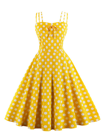 23b8a34feeb0 Yellow Vintage Dress Straps Polka Dot Cotton Retro Summer Dress