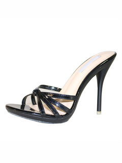 9365a25c9e7dd High Heel Sandals Black Open Toe Cut Out Backless Sandal Slippers Women  Slide Sandals