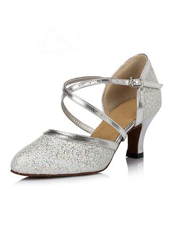 91d80820 Zapatos de baile de plata 2019del brillo punta estrecha Zapatos abrazo de  la muerte baile latino