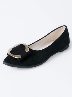 97644d3b637 Black Ballet Flats Suede Pointed Toe Metal Detail Slip On Flat Shoes