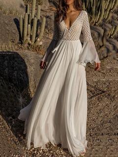 7014842e5c1 White Maxi Dress Lace See Through Boho Dress Bell Sleeve Chiffon V Neck  Tassels Long Prom