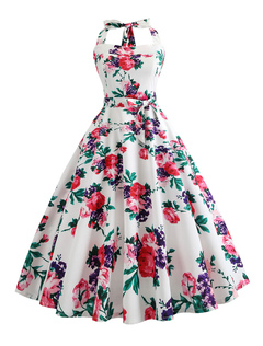 cd97ba7f069f Women Vintage Dress 1950s Floral Print Sleeveless Halter Pin Up Dress