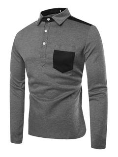 Polo de los hombres Camiseta de manga larga de dos tonos de algodón Slim Fit  Casual 2b980a84c5385