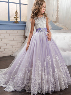 Princess Flower Girl Dresses Kids Lace Lilac Beading Bows Girls Pageant Party Dress With Train