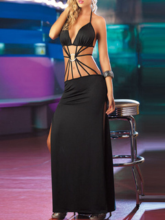 a33ac2c9e67d5 Sexy Club Dress Halter Strappy Cut Out Grommets Split salir vestido de  fiesta