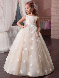 46046c07709 Princess Flower Girl Dresses Lace Flowers Applique Bow Sash Nude A Line  Floor Length Kids Pageant