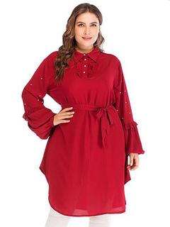 Camisa de tallas grandes Mujer Blusas rojas Cuello doblado Manga larga  Volantes Blusa de gasa c3fad3fe0bd