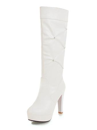Moda Altas Hombre Mujer Zapatos Belleza Botas Boda Blancas E57q7xT