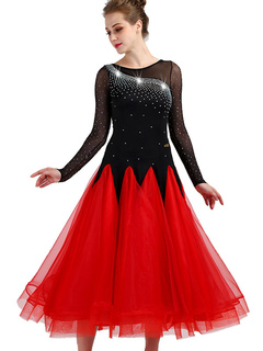 393ac4a3f2f Traje de baile de salón de baile rojo de manga larga de organza rebordear  vestido de