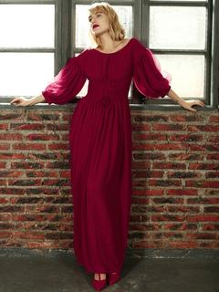 Maxi vestito in chiffon Scoop Neck Puff Sleeve Lace Up Borgogna Convertible  Dress autunno 6c26599596f