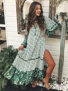 dc072f819cb Maxi Boho Dress Long Sleeve Dress Turndown Collar Ruffles Split Printed  Green Beach Dress
