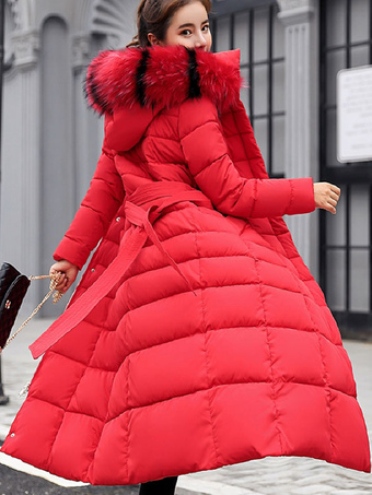 Women Hooded Coat Outerwear Artificial Fur Collar Cotton-Padded Long Jackets Coats