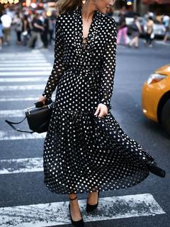 Schwarz Maxi Kleid Langarm V-Ausschnitt Polka Dot Lace Up Rüschen Chiffon  Casual Dress 0ce2516a70