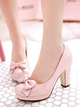 Milanoo / Classic Lolita Shoes Bow Platform Chunky High Heel Lolita Pumps
