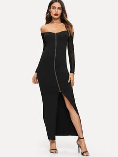 5809b0e14a2a Schwarzes Maxikleid mit langen Ärmeln Reißverschluss Split aus der Schulter  Partykleid