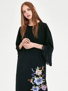 1dcf9ae5a Vestido de túnica negro con cuello redondo bordado vestido de cambio con  borla