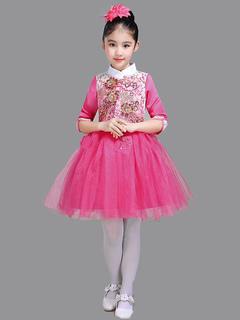 075c54f21 Vestidos de niña de flores Vestido de tutú de media manga Vestido de encaje  apliques de