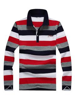 Camisa polo de algodón Bloque de color a rayas Camisa casual de manga larga  para hombres 86fcc356529b4