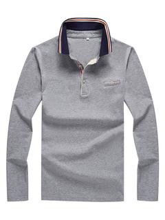 Camisa polo de los hombres de algodón de la raya del bolsillo de manga  larga camiseta 752411fdeaa67