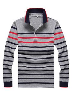Camisa de polo de los hombres de algodón de la raya Regular Fit manga larga  camiseta aef0bcfab355e