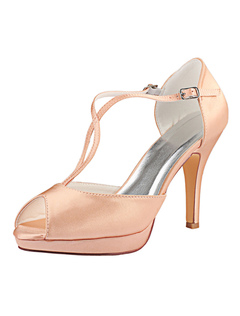 679cb1c1967a Satin Wedding Shoes Champagne Peep Toe T Type High Heel Bridal Shoes