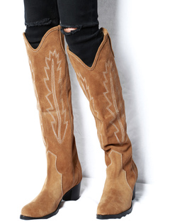 e173c8be8b Marrón Cowboy Botas de Mujer 2019 Botas Invernales de Cuero de Ante Punta  Redonda Bordado Botas